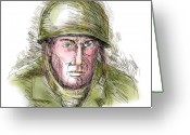 Male Greeting Cards - Gritty World war two soldier Greeting Card by Aloysius Patrimonio