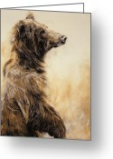Beast Greeting Cards - Grizzly Bear 2 Greeting Card by Odile Kidd