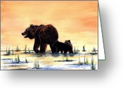 Cubs Painting Greeting Cards - Grizzly Bears Greeting Card by Michael Vigliotti