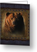 Montana Greeting Cards - Grizzly Lodge Greeting Card by JQ Licensing