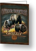 Montana Greeting Cards - Grizzly Traditions Greeting Card by JQ Licensing