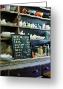 Slates Greeting Cards - Groceries in General Store Greeting Card by Susan Savad
