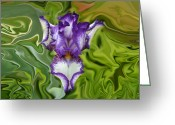 Trippy Greeting Cards - Groovy Purple Iris Greeting Card by Rebecca Margraf