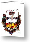 Native American Greeting Cards - Grotesque Vision Greeting Card by Dan Daulby