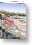 Beach Umbrella Painting Greeting Cards - Groton Long Point Greeting Card by Marsha Elliott