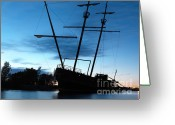 Ship-wreck Greeting Cards - Grounded Tall Ship Silhouette Greeting Card by Oleksiy Maksymenko