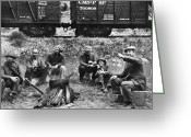 Train Car Greeting Cards - GROUP OF HOBOES, 1920s Greeting Card by Granger