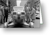 45-49 Years Greeting Cards - Group Of Men Looking At Futuristic Car (b&w) Greeting Card by Hulton Archive