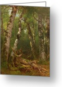 Floor Painting Greeting Cards - Group of Trees Greeting Card by Asher Brown Durand