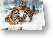 Tiger Cub Greeting Cards - Group Therapy Greeting Card by Julie L Hoddinott