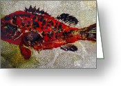 Januszkiewicz Mixed Media Greeting Cards - Grouper Greeting Card by Patricia Januszkiewicz