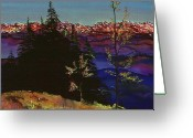 Blues Tapestries - Textiles Greeting Cards - Grouse Mountain Greeting Card by Carolyn Doe
