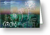 Blossom Digital Art Greeting Cards - Grow Greeting Card by Evie Cook