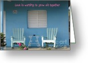 Rocking Chairs Greeting Cards - Grow Old Together 1 Greeting Card by Stav Stavit Zagron
