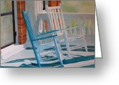 Rocking Chairs Greeting Cards - Growing Old Together Greeting Card by Terry Holliday