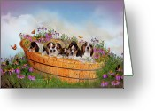 Canine Art Greeting Cards - Growing Puppies Greeting Card by Carol Cavalaris