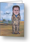 Famous Airmen Greeting Cards - Grp. Capt. Douglas Bader Greeting Card by Murray McLeod