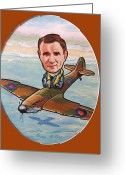 Famous Airmen Greeting Cards - Grp.Capt.Adolph Malan Greeting Card by Murray McLeod
