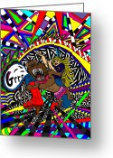 Disco Mixed Media Greeting Cards - Grrr Greeting Card by Karen Elzinga