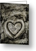 Dark Grey Greeting Cards - Grunge Heart Greeting Card by Frank Tschakert