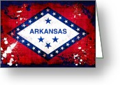 Arkansas Greeting Cards - Grunge Style Arkansas Flag Greeting Card by David G Paul