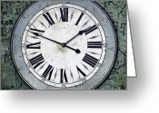 Burnt Greeting Cards - Grungy Clock Greeting Card by Carlos Caetano