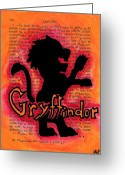 Wizard Drawings Greeting Cards - Gryffindor Lion Greeting Card by Jera Sky
