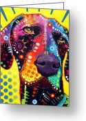 Street Art Greeting Cards - GSP German Shorthair Pointer Greeting Card by Dean Russo