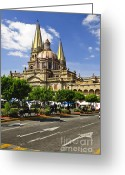 Old Street Greeting Cards - Guadalajara Cathedral Greeting Card by Elena Elisseeva