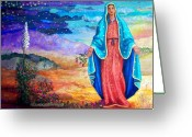Scene Mixed Media Greeting Cards - Guadalupe de la Frontera Greeting Card by Candy Mayer