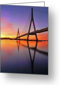 Horizon Over Land Greeting Cards - Guadiana Bridge Over Sunset Greeting Card by Juampiter