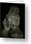 Shi Greeting Cards - Guan Yin Bodhisattva - Goddess of Compassion Greeting Card by Christine Till - CT-Graphics
