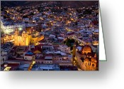 World Culture Greeting Cards - Guanajuato Lit Up At Night Greeting Card by David Evans