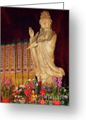 Shi Greeting Cards - Guanyin Bodhisattva - Jinans rare female Buddha Greeting Card by Christine Till - CT-Graphics