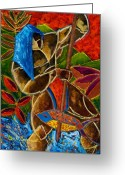 Puerto Rico Drawings Greeting Cards - Guarani... hombre de familia Greeting Card by Oscar Ortiz