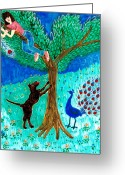 Sue Burgess Ceramics Greeting Cards - Guard dog and guard peacock  Greeting Card by Sushila Burgess