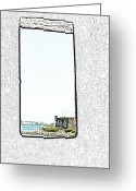 Destinations Digital Art Greeting Cards - Guard Tower View Castillo San Felipe Del Morro San Juan Puerto Rico Colored Pencil Greeting Card by Shawn OBrien
