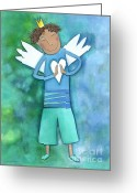 Childsroom Greeting Cards - Guardian Angel for Boys Greeting Card by Sonja Mengkowski