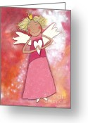 Childsroom Greeting Cards - Guardian Angel for Girls Greeting Card by Sonja Mengkowski