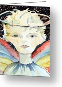 Christ Child Greeting Cards - Guardian Angel Greeting Card by Mindy Newman