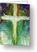 Abstract Painting Greeting Cards - Guardian Angel Prayer Greeting Card by Michel  Keck