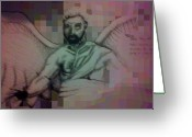 Guardian Angel Drawings Greeting Cards - Guardian Angel Greeting Card by Riley Thomas