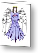 Guardian Angel Drawings Greeting Cards - Guardian Angel Greeting Card by Tallulah P