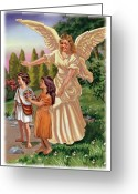 Biblical Mixed Media Greeting Cards - Guardian Angel Greeting Card by Valerian Ruppert