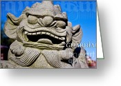 Foo Lions Greeting Cards - Guardian Greeting Card by Extrospection Art