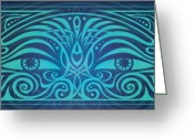 Native Digital Art Greeting Cards - Guardian Gaze Greeting Card by Cristina McAllister
