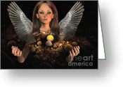 Guardian Angel Mixed Media Greeting Cards - Guardian Greeting Card by Jutta Maria Pusl