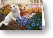 Flower Pots Greeting Cards - Guardian of the Greenhouse Greeting Card by Evie Cook