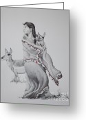 Stippling Greeting Cards - Guardian of the Herd Greeting Card by Tracy L Teeter