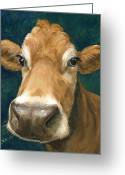 Animal Artist Greeting Cards - Guernsey Cow on Teal Greeting Card by Dottie Dracos